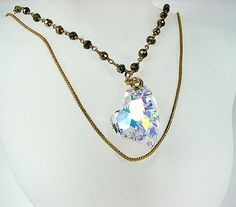 Large crystal heart necklace Pyrite nugget necklace Multi layer gold chain necklace Crystal pendant on Pyrite beaded chain Stone jewelry