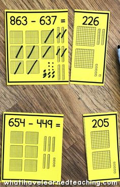 Online Home School. Subtraction Strategies, Math Subtraction, Subtraction Activities, Math Strategies, Math Resources, Fourth Grade Math, Second Grade Math, Grade 2, Math Stations