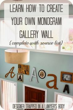 A beautiful monogram gallery wall in a foyer! Designer Trapped in a Lawyer's Body: How to Create Your Own Monogram Gallery Wall A step-by-step tutorial. Decor, Home Projects, Monogram Gallery Wall, Monogram Wall, Diy Wall Decor, Gallery Wall, Sweet Home, Letter Wall, Initial Wall