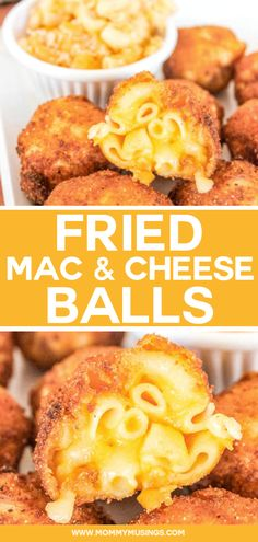 Fried Mac and Cheese Balls Recipe - Wow your guests with this cheesy party appetizer! #partyappetizer #appetizers #macandcheese #friedfood #partyfood