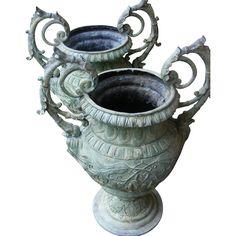 Vintage pair of Patinated Iron Garden Urns - Large -  found at www.rubylane.com @rubylanecom