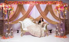 Weddings Discover Gorgeous Indian bride ready for wedding reception. Wedding Reception Chairs, Indian Reception, Wedding Stage Design, Wedding Reception Backdrop, Desi Wedding Decor, Wedding Hall Decorations, Tent Decorations, Marriage Hall Decoration, Bride Groom Table