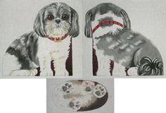 Needlepoint dog canvas Shih Tzu front back by ADragonsTaleDirect Needlepoint Stitches, Needlework, Dragon Tales, Fursuit, Maltese, Shih Tzu, Textile Art, Fiber Art, Hand Painted