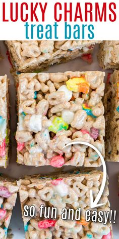 Lucky Charms Treats – Like Rice Krispie Treats but made with Lucky Charms cereal. Colorful marshmallows make these easy treats magically delicious! Lucky Charms Treats, Lucky Charms Cereal, Sweet Desserts, Delicious Desserts, Dessert Recipes, Rice Crispy Treats, Krispie Treats, St Patrick Day Treats, Shugary Sweets