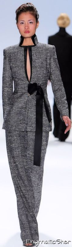 Zang Toi ~ Grey Pant Suit w Black Accents Fall 2012