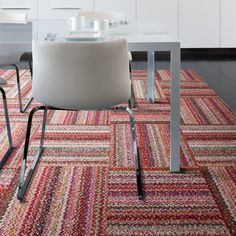 cool carpet for a den or family room (with off-white shag area rug on top)