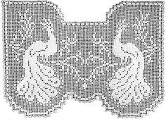 Regal Peacocks Lace Curtain Filet Crochet Pattern | Claudia Botterweg Books