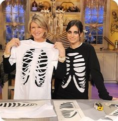 Easy to make: Skeleton shirt. All you need is two shirts, one black and one white. Cut out the rib cage of a skeleton.
