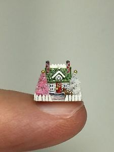 OOAK Miniature Dollhouse Christmas Cottage Putz Reindeer House Holly Allen   eBay