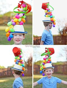 Learn how to create a gravity-defying Easter hat that's perfect for parties or parades! It features an upside down Easter basket and lots of plastic eggs! Easter Bonnets For Boys, Easter Crafts For Kids, Bunny Crafts, Easter Activities, Toddler Activities, Diy Crafts, Easter Hat Parade, Spring Hats, Diy Ostern
