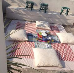 Good Morning from sunny Jaipur! We are enjoying the weather and decided to move breakfast outside. #ecru #pillows #tablemat #linens #homeware #decor #design #interiors #home