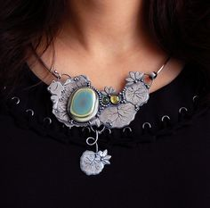 Necklace | 6 Shadows Designs. 'Lily Pond'. Handcrafted from sterling silver, imperial jasper and tourmalines.