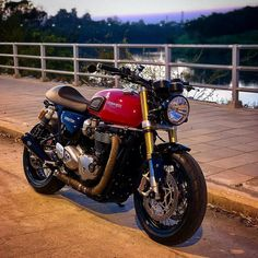 Image may contain: motorcycle and outdoor Triumph Cafe Racer, Cafe Racer Bikes, Cafe Racer Motorcycle, Moto Bike, Triumph Motorcycles, Indian Motorcycles, British Motorcycles, Cafe Racer Style, Custom Cafe Racer