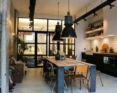 Ambiente, métal madeira cozinha sala jantar
