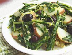 Warm Dandelion-Potato Salad--one of my favorite ways to enjoy dandelion! Tangy, tasty, lemony, YUM. Vegan and dairy-free.