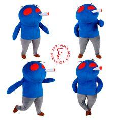 Exclusive plush toy mascots with bad habits, handmade Art-berloga Handmade Toys, Handmade Art, Emotional Messages, Bunny And Bear, Bad Habits, Smurfs, Plush, Sweatshirts
