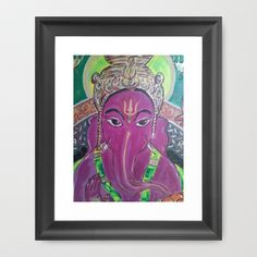 PURPLE GANESH-remover of obstacles Framed Art Print by Kathead Tarot - $42.00