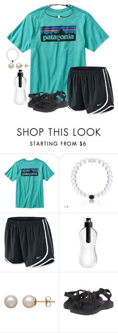 """Read the d"" by madi-tay ❤ liked on Polyvore featuring Patagonia, NIKE, Honora and Chaco"