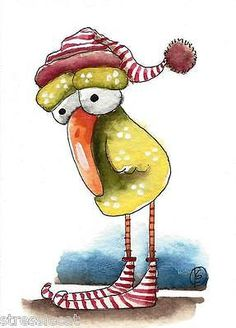 ACEO Original watercolor art painting whimsical bird weird bird with hat & shoes