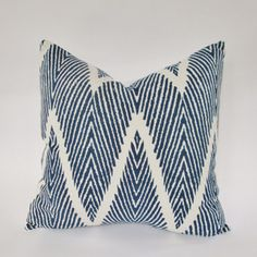 This pillow mixes the best of two trendy patterns: chevron and ikat.Price varies by size from $30 to $40.