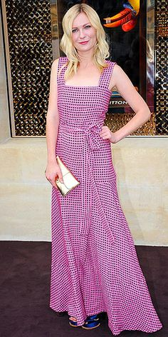 Kirsten Dunst in dotted dress from Louis Vuitton's cruise collection