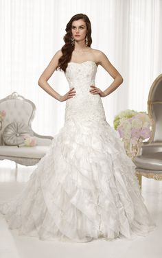 Stunning fit-and-flare Royal Organza wedding gown features a sweetheart neckline from Essense of Australia (Style D1559)