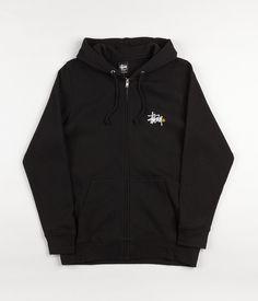 Stussy Basic Logo Zip Hooded Sweatshirt - Black