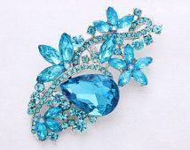 Teal Blue Aqua Brooch Wedding Bouquet Blue Brooches Bridal Dress Sash Cake Neckalce DIY Crafts Crystal Blue Broach