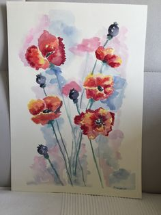 Original watercolour on paper Original Artwork, Original Paintings, Art Work, Watercolour, Poppies, The Originals, Paper, Artwork, Pen And Wash