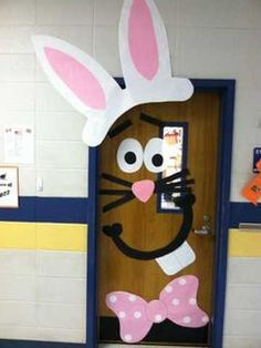 Pâques décoration de porte de classe lapin sur porte de couleur