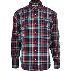 Dark blue check long sleeve shirt #riverisland #RImenswear