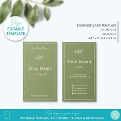 Floral Editable Business Card Template Printable Rustic Kraft | Etsy Card Templates Printable, Printable Business Cards, Label Templates, Printables, Soap Labels, Custom Fonts, Tag Design, Beauty Shop, Business Card Design