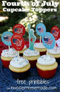 FREE fourth of July printable Cupcake toppers from papergravy