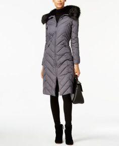 Laundry by Shelli Segal Faux-Fur-Trim Puffer Coat - Gray XXL