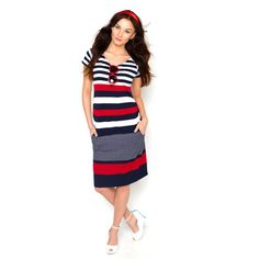Viva la Mama   Nursing dress HANSA (navy/white/red). This dress in marine look  is a must-have for your upcoming spring/summer pregnancy wardrobe! HANSA is also ideal for discreet breastfeeding as well as after the nursing period. The dress is a wonderful gift for Valentine's Day, birth or baby shower!