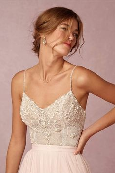 The top of this wedding dress is gorgeous! BHLDN look ON SALE NOW! Pair it with a rose gold leaf headband and some gold sandals for the casual beach destination wedding look! #bride #bridal #look #simple #wedding #destination #beach #todaysdetails #getthelook #wearitloveit #shopthelook #summerstyle #lookoftheday #currentlywearing #MyShopStyle #ShopStyle #mylook