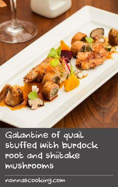 Galantine of quail stuffed with burdock root and shiitake mushrooms | At the restaurant, Shinichi serves this with pickled golden beetroot and extra shiitake mushrooms. You can ask your butcher to butterfly and bone the quails for you.