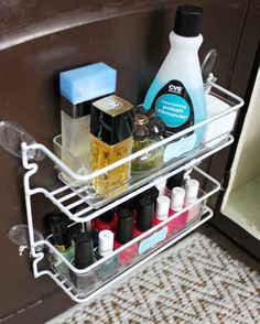 Create more storage space by securing a wire spice rack to the back of your bathroom cabinets…
