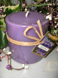 """Sweet Pea - Two 13 Oz Round Pillar Scented Candles. 3"""" x 3 1/2"""". These candles are made with non-lead wicks and highly refined paraffin wax specially blended with beeswax for stronger scent and longer burning time. Each and every candle is carefully hand poured for the highest quality. No harmful additives added in any of our candles."""