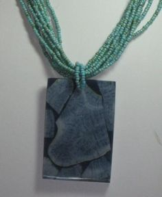 Blue Coral Pendant and Turquoise Bead Necklace by nubiansensations for $25.00