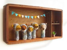 NURSERY ART a Vintage Shadow Box with 5 Finger by LazyAnimals, $250.00