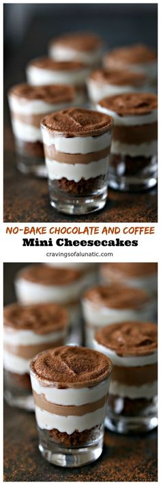 No-Bake Chocolate and Coffee Mini Cheesecakes from http://cravingsofalunatic.com