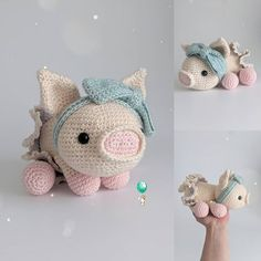 Here's a simple amigurumi pattern on how to make a cute little pig. Materials needed:Acrylic yarn in light an Crochet Animal Patterns, Stuffed Animal Patterns, Amigurumi Patterns, Amigurumi Doll, Crochet Animals, Knitting Patterns, Dinosaur Stuffed Animal, Crochet Pig, Crochet Eyes