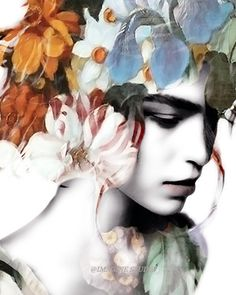 Beautiful gray scale woman with the addition of colorful vintage flowers as her hair. I love photo montages that incorporate parts of the human body with some kind of plant or naturalistic scene.