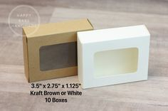 """Soap Box, 10 Boxes, 3.5x2.75x1.125"""", Display Boxes, Product Boxes, Kraft or White, Soap Packaging, Small Soap Box, Favor Boxes, Window Box by HappyBabeHandmade on Etsy"""