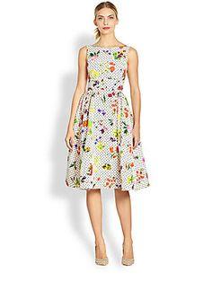 Oscar de la Renta Silk Botanical Dot Print Dress $3,390.00