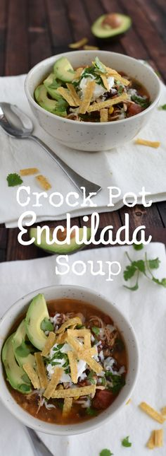 Dinner can't get easier than this slow cooker chicken enchilada soup - literal minutes of prep work, and amazing flavor! You won't believe how easy this is!  via @GingeredWhisk