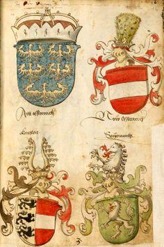 «Wappenbuch», Anton Tirol, [S.l.], Süddeutschland, ca 1499-1540 [BSB Cod.icon. 310 - urn:nbn:de:bvb:12-bsb00001649-4] -- Wappen österreichischer Erblande (f°1bf)