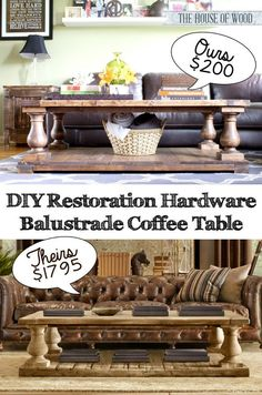 Easy DIY Restoration Hardware-inspired coffee table. Free plans on how to build one yourself!