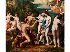 DAS URTEIL DES PARIS Öl auf Holz. 68 x 75,5 cm. Ferrara, um 1540. Die vorliegende Tafel, welche das Urteil des Paris darstellt, nimmt die Bildidee wieder auf,...